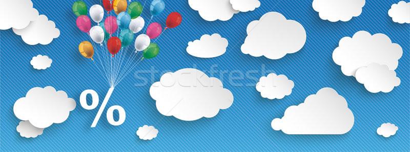 Papier wolken gestreept blauwe hemel ballonnen procent Stockfoto © limbi007