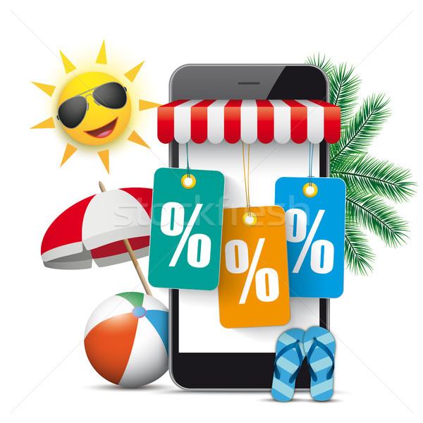 Smartphone Shop Marquee Sun Palms Price Stickers Percent Stock photo © limbi007