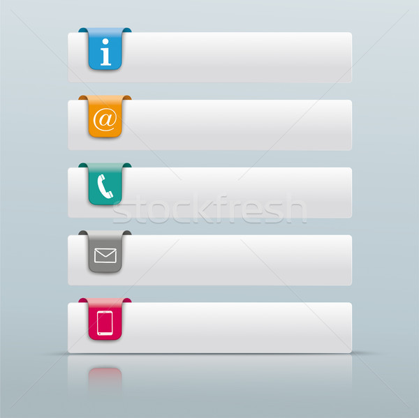 5 Colored Tabs Mirror Contact Icons Stock photo © limbi007