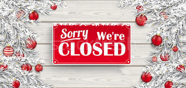 Frozen Twigs Red Baubles Wood We Are Closed Stock photo © limbi007