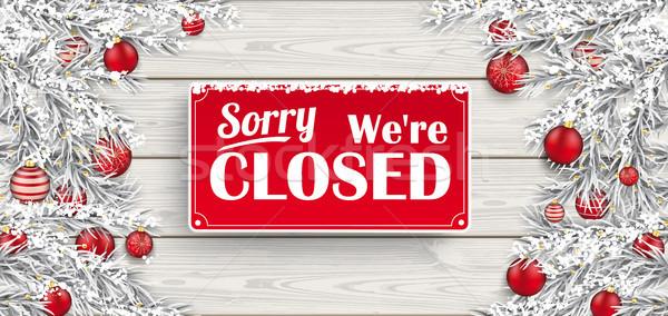 Zamrożone czerwony drewna zamknięte christmas Zdjęcia stock © limbi007