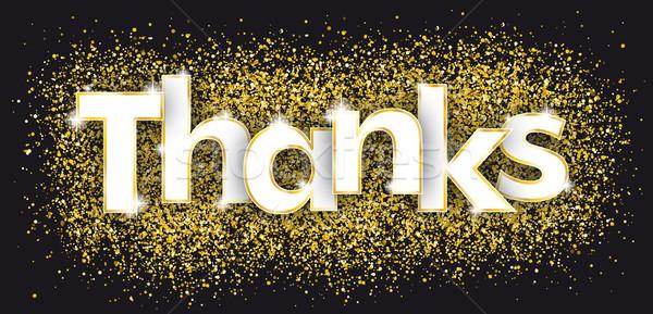 Köszönet arany konfetti sötét részecskék szöveg Stock fotó © limbi007