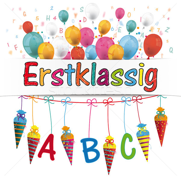 Candy Cones Banner Balloons Letters Erstklassig Stock photo © limbi007