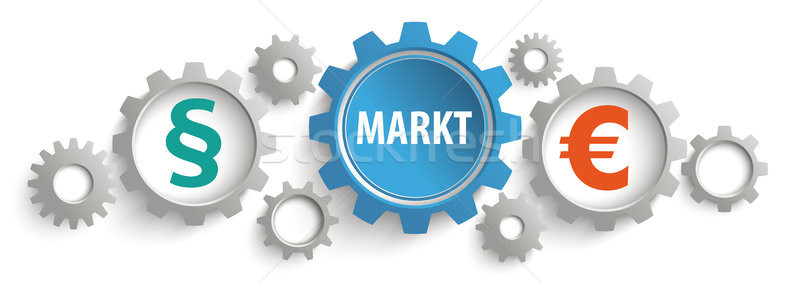 Gray Blue Gears Paragraph Markt Euro Header Stock photo © limbi007