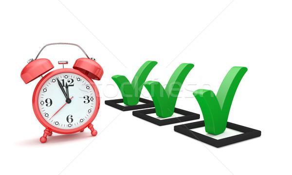 赤 チェックリスト 白 3次元の図 睡眠 時計 ストックフォト © limbi007