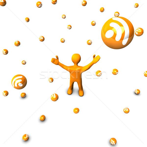 Pioggia rss arancione cartoon isolato bianco Foto d'archivio © limbi007