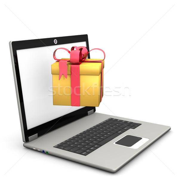 Notebook arany ajándék fehér számítógép háló Stock fotó © limbi007