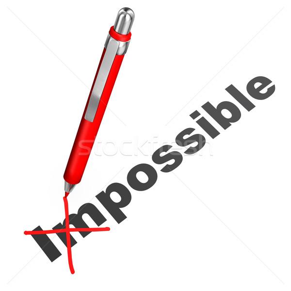 Lehetséges szöveg lehetetlen piros labda toll Stock fotó © limbi007