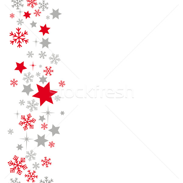 Snow And Stars Background Grey Red Stock photo © limbi007