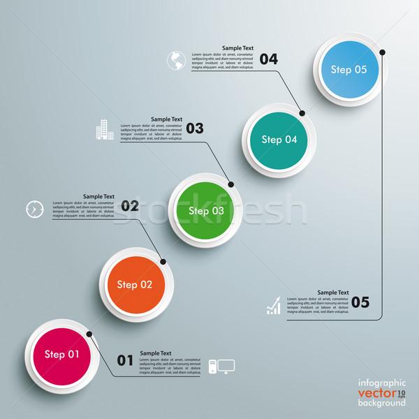 Cirkels grafiek stappen ontwerp grijs Stockfoto © limbi007