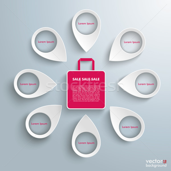 8 Location Markers Shopping Bag Stock photo © limbi007
