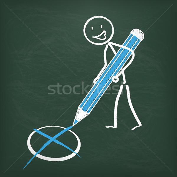 Blackboard stemming pen Blauw eps 10 Stockfoto © limbi007
