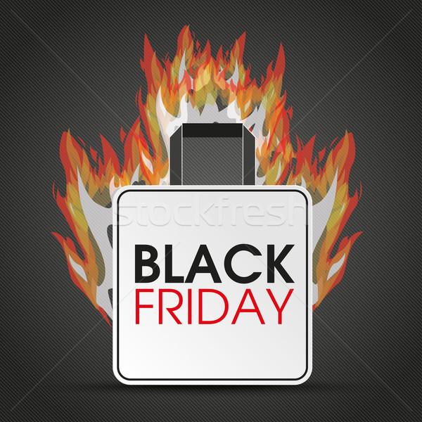 Boodschappentas black friday brand tekst donkere eps Stockfoto © limbi007