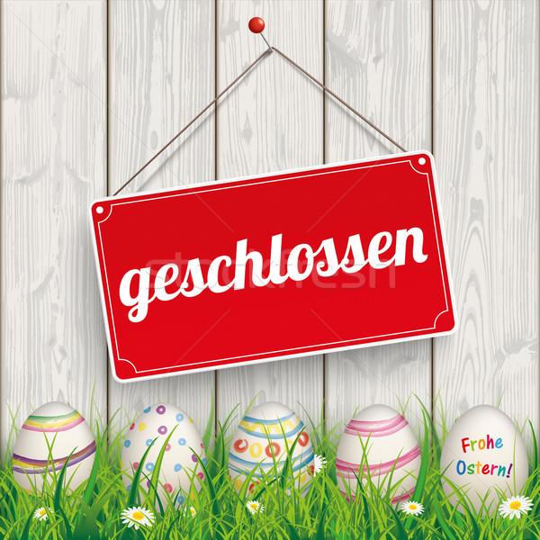 Easter Eggs Grass Wod Geschlossen Stock photo © limbi007