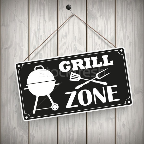 Sign Wooden Background Grill Zone Stock photo © limbi007