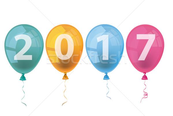 4 Colored Balloons 2017 Stock photo © limbi007
