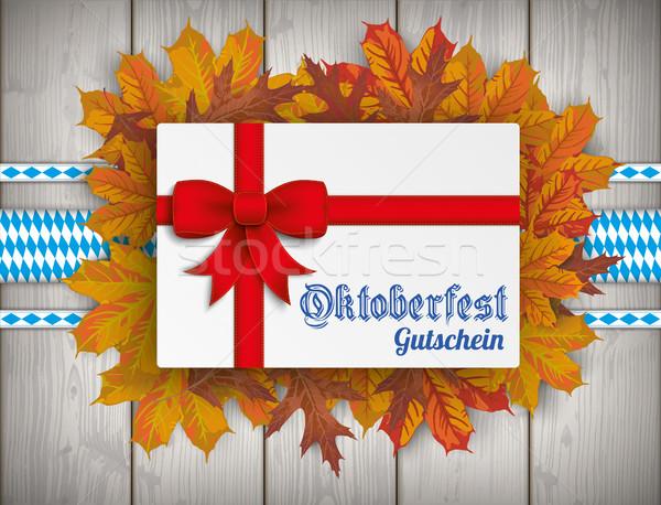Oktoberfest Bier Laub Holz Text Gutschein Stock foto © limbi007