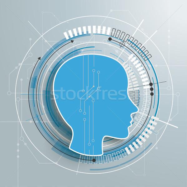 Futuristic Human Head Circuit Board Stock photo © limbi007