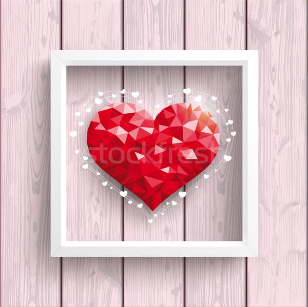 Stockfoto: Laag · hart · roze · hout · frame · houten