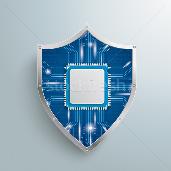 Digital Protection Shield Microchip Stock photo © limbi007