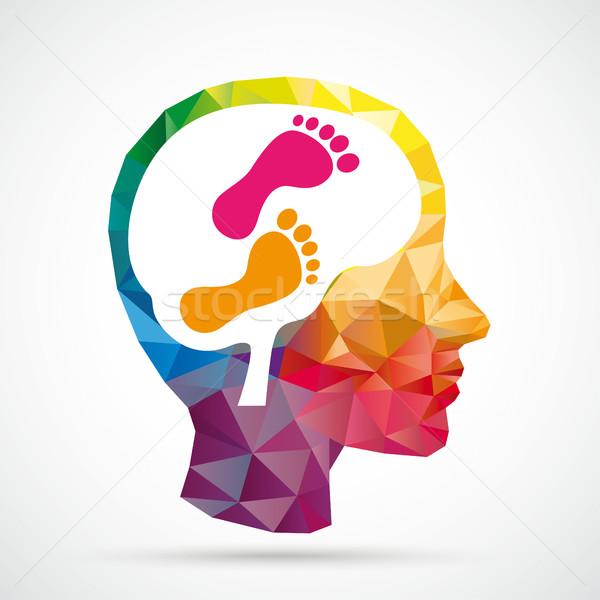 Pieds faible humaine tête cerveau Photo stock © limbi007