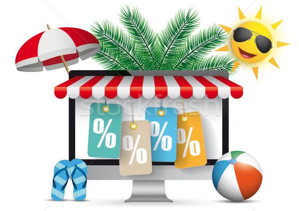 PC Monitor Marquee Palms Sun Price Stickers Percent Stock photo © limbi007