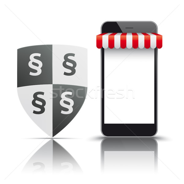 Smartphone Red Awning Shop Protection Shield Paragraph Stock photo © limbi007