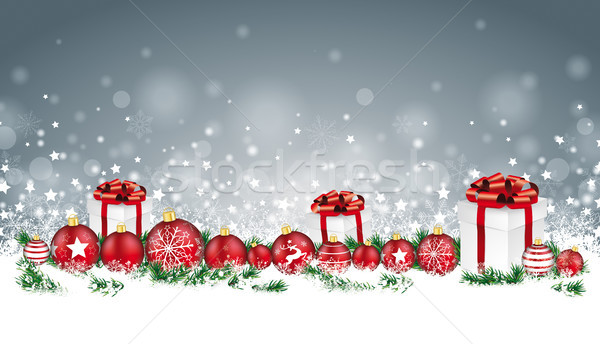Stock fotó: Karácsonyi · üdvözlet · fejléc · szürke · hópelyhek · ajándékok · karácsony