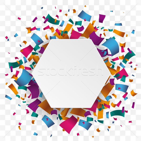 White Hexagon Colored Confetti Transparent Background Stock photo © limbi007