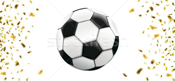 Zdjęcia stock: Piłka · nożna · złoty · konfetti · banner · biały