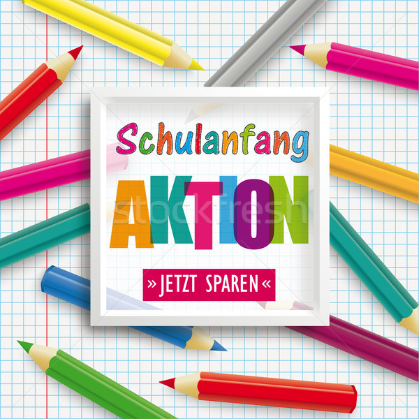 Colored Pencils Frame Checked Paper Schulanfang Aktion Stock photo © limbi007