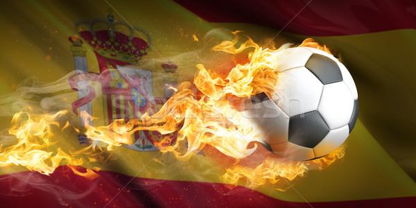 飛行 燃焼 サッカー スペイン スペイン国旗 火災 ストックフォト © limbi007