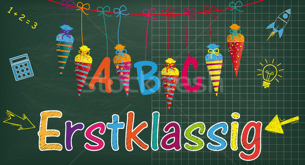 Long Blackboard Balloons Candy Cones Erstklassig Stock photo © limbi007
