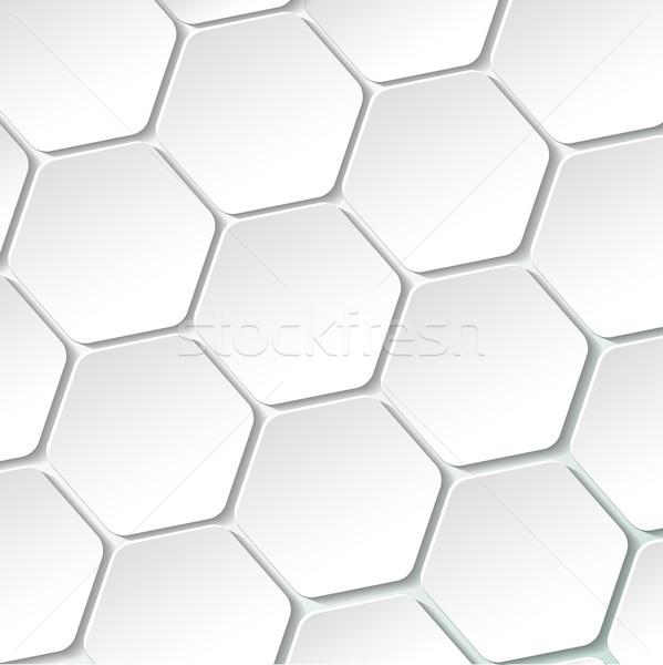Biały papieru sześciokąt eps 10 Zdjęcia stock © limbi007