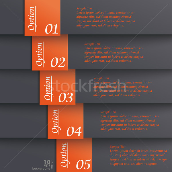Template Design 5 Options Black Orange Stock photo © limbi007