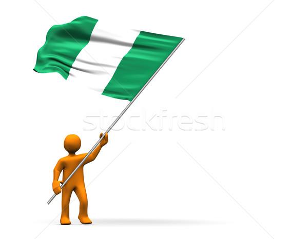 Foto stock: Nigéria · ventilador · ilustração · grande · bandeira