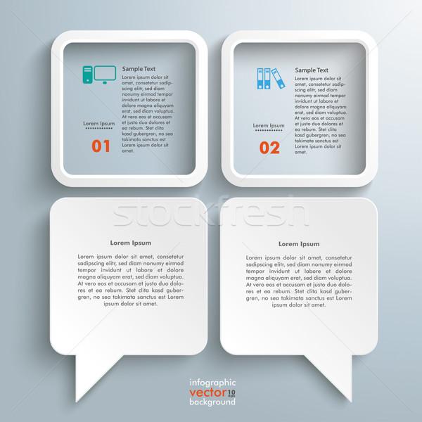 2 Dialog Speech Balloons 2 Squares Stock photo © limbi007