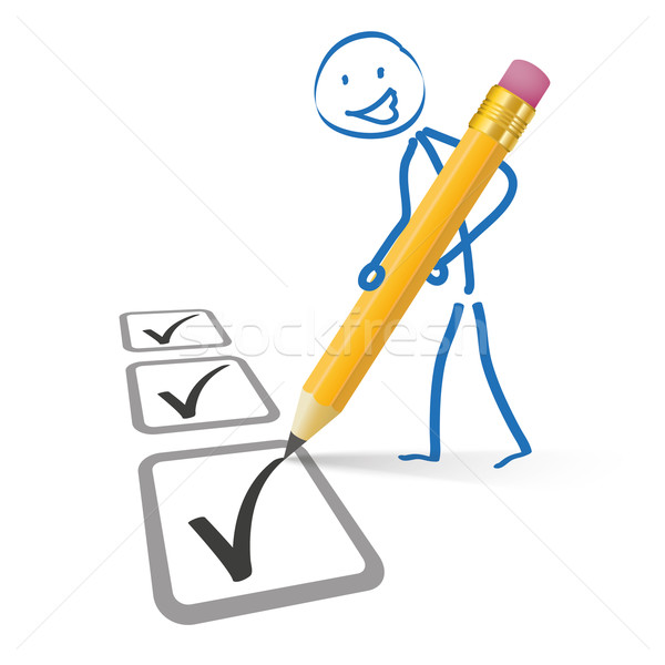 Stickman Pencil Checklist Stock photo © limbi007