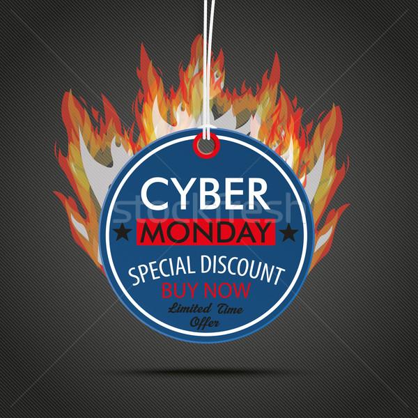 Round Price Sticker Cyber Monday Fire Stock photo © limbi007