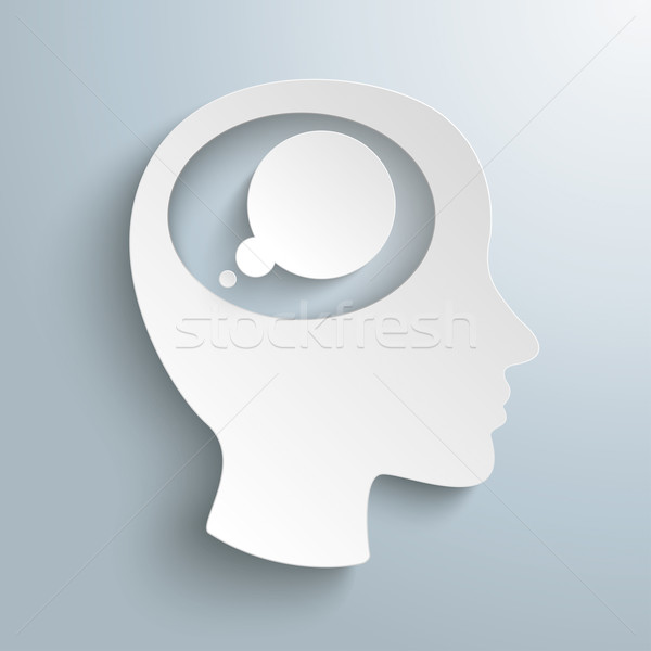 White Paper Head Brain Thought Bubble Stock photo © limbi007
