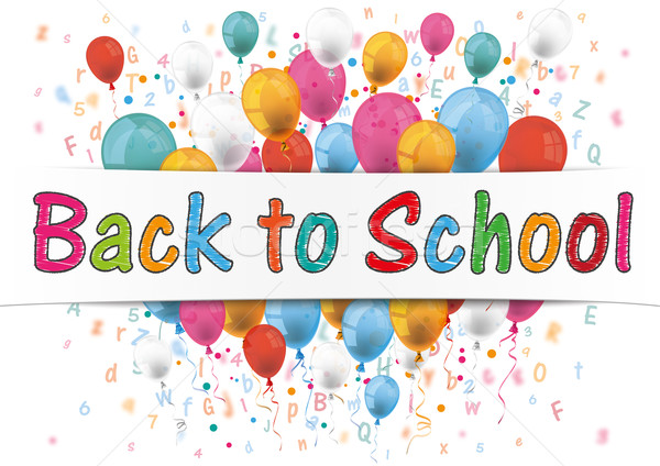 Banner Balloons Letter Numbers Back to School Stock photo © limbi007