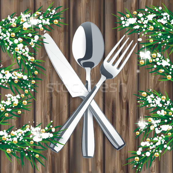 Twigs Worn Wood Snow Wood Knife Fork Spoon Stock photo © limbi007