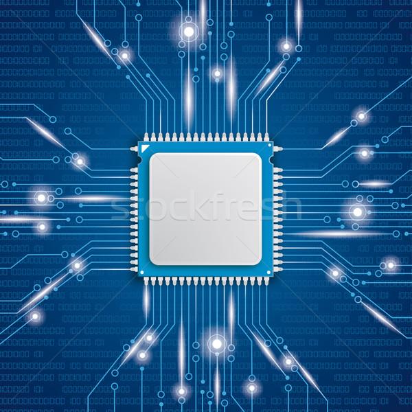 Mikrocsip processzor fények kék eps 10 Stock fotó © limbi007