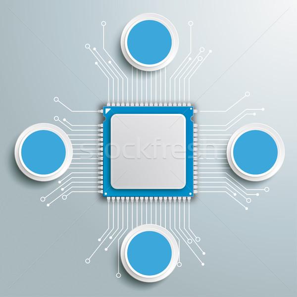 Futuristic Processor Circuit Board Circles Infographic Stock photo © limbi007