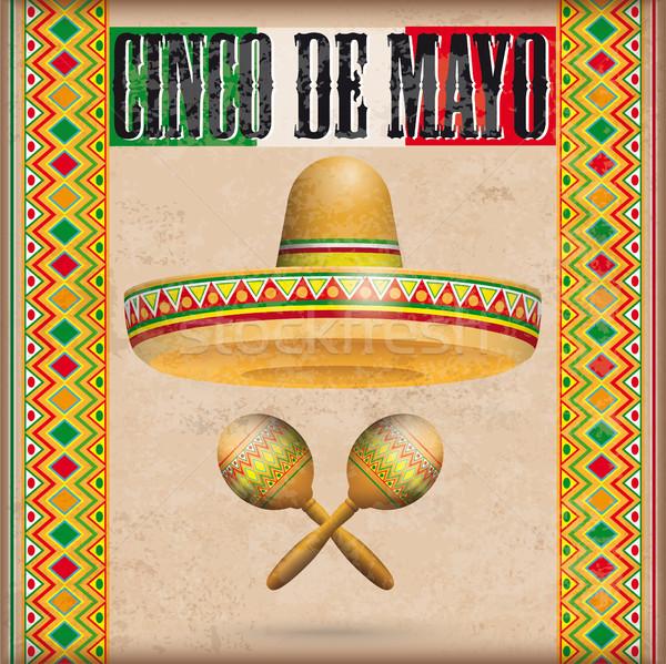 Vintage Mexican Ornaments Sombrero Maracas Cinco de Mayo Stock photo © limbi007