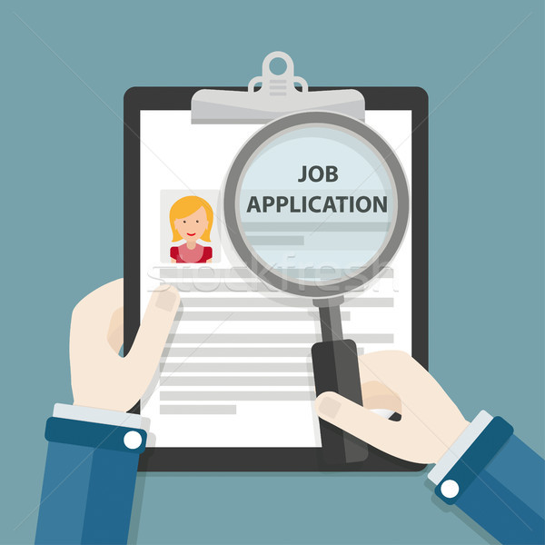 Hands Clipboard Job Application Loupe Woman Stock photo © limbi007