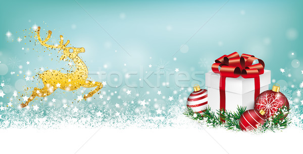 Cyan Christmas Header Reindeer Snowflakes Gift Baubles Stock photo © limbi007