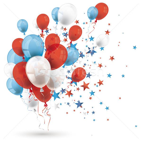 Stockfoto: Blauw · Rood · witte · ballonnen · sterren · schaduw
