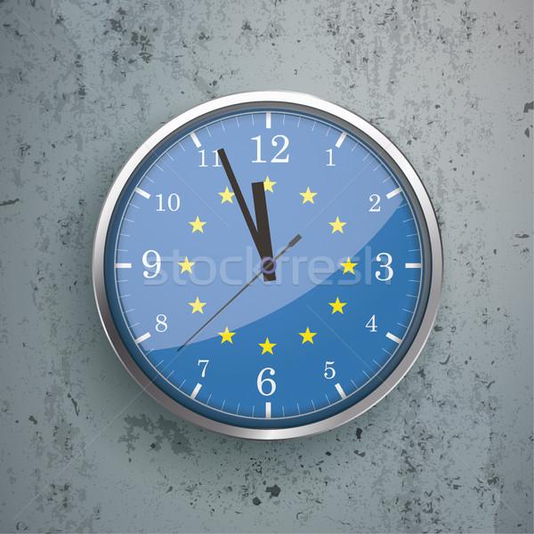 Reloj concretas ue bandera hierro pared Foto stock © limbi007
