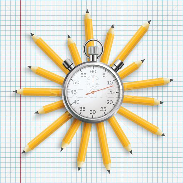 Stopwatch Pencils Sun Checked Paper Stock photo © limbi007